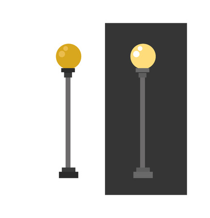 street lamp: Lamp retro metal street object electricity industry and vintage street energy lamp exterior vector. Street lamp urban lantern light flat vector illustration. Street lamp yellow color
