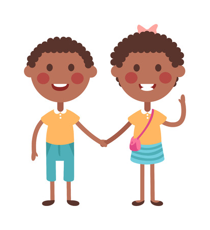 twin sister: Twins kids holding hands and cute twins kids together. Twins happy kids holding hands boy and girl vector illustration. Twins brother and sister vector illustration