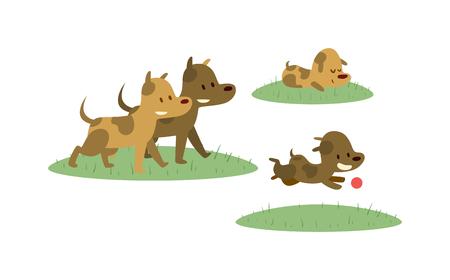 pelota caricatura: Los perros de la familia feliz divertirse y perros familia alegre vector ejecutando. perros Feliz familia caminando con la pelota en campo verde ilustración vectorial de dibujos animados. Vectores