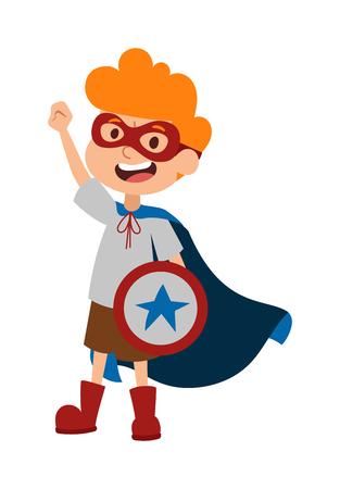 caricatura mosca: Superhéroe niño pequeño en los vidrios, capa, con escudo y super héroe valiente niño lindo del vector. Ilustración del muchacho del super héroe personaje de dibujos animados del vector. chico joven de la escuela traje de súper héroe, escudo de estrellas y sonrisa