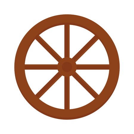 cartwheel: Cart wheel brown western round object and handmade cart retro wheel rustic history icon. Old wooden vintage wheel from cart transportation vector illustration.