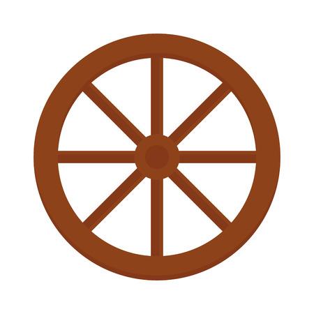 Karwiel bruine western round kar object en handgemaakte retro wiel rustieke geschiedenis icoon. Oude houten wiel wijnoogst uit winkelmandje vervoer vector illustratie. Vector Illustratie