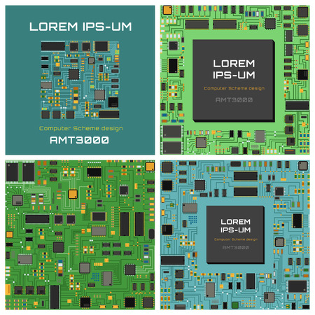Computer chip technology processor circuit and computer motherboard information system chip vector. Computer chip electronic circuit board with processor flat vector illustration set. Çizim