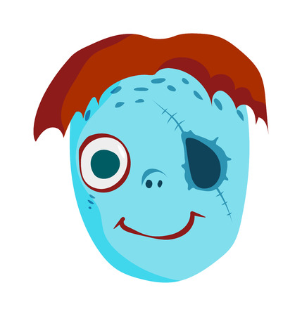 halloween kids: Zombie head cartoon monster character scary flat vector illustration. Zombie head character face and zombie head smile spooky man. Portraip of cartoon moster blue zombie vector. Halloween kids style image of zombie hand Illustration