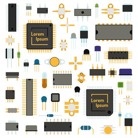 コンピューター基板チップ工学回路アイコンとマイクロ チップ回路電気科学概念ネットワークのアイコンのベクトル。回路コンピューター チップ