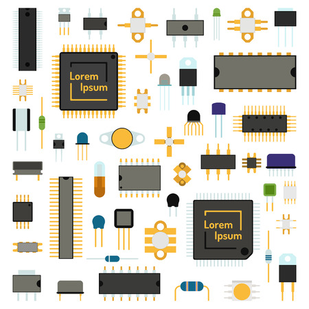 computer system: Computer board chip engineering circuit icons and microchip circuit electrical science concept network icons vector. Circuit computer chips icons technology vector illustration set. Computer chip background