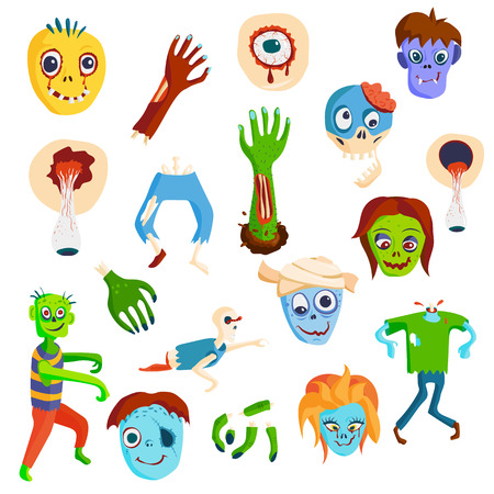 face zombie: Colorful zombie scary cartoon elements and magic zombie people body cartoon fun group. Cute green cartoon zombie character set part of body monsters vector illustration. Horror zombie people isolated Illustration