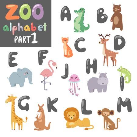 alligator cartoon: Animals alphabet symbols, wildlife animals font alphabet design vector. Cute vector zoo english alphabet with cartoon animals colorful vector illustration.