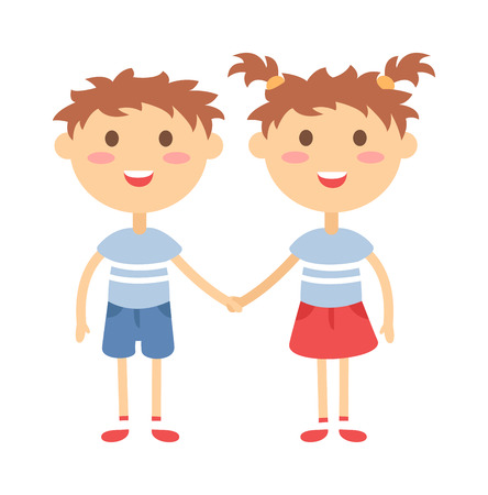 kids holding hands: Twins kids holding hands and cute twins kids together. Twins happy kids holding hands boy and girl vector illustration.