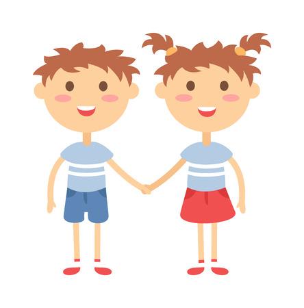 함께 손 귀여운 쌍둥이 아이를 들고 쌍둥이 아이. 손 소년과 소녀의 벡터 일러스트 레이 션을 들고 쌍둥이 행복 한 아이입니다.