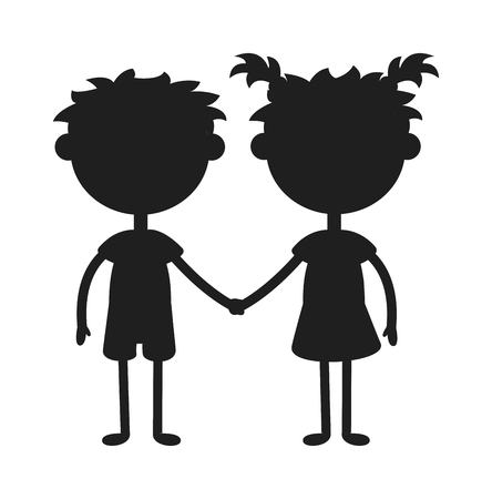 teen girl face: Twins kids holding hands black silhouette and cute twins kids together. Twins happy kids silhouette holding hands boy and girl vector illustration.