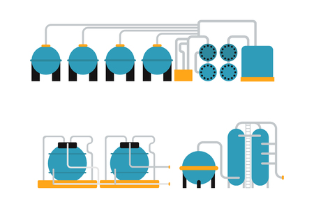 pipework: Petroleum oil gas storing container and energy oil gas metal storing vector. Oil gas storing in cargo service terminal flat vector illustration. Illustration