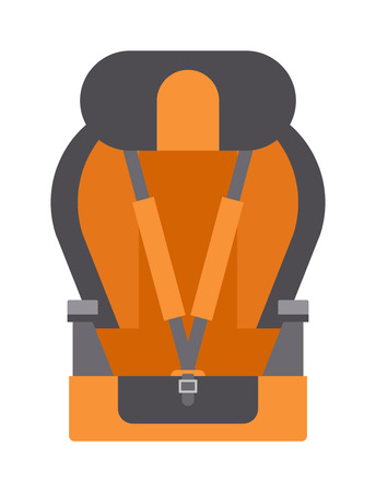 the protector: Safety baby seat travel tool and baby auto seat protector symbol vector icon. Baby car seats cartoon flat colored vector illustration.