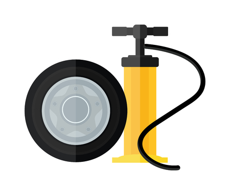 one wheel bike: Hand pump instrument and automobile service equipment hand pump vector. Device hand bicycle and car pump flat cartoon vector style icon. Illustration