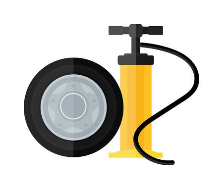 Handpomp instrument en auto-service apparatuur hand pomp vector. Apparaat hand fiets en auto pomp platte cartoon vector stijlicoon. Stock Illustratie
