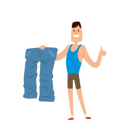前に、および重量損失男が達成で満足した後は、重量損失ライフ スタイルの人々 のベクターします。男は、古いジーンズ フラット ベクター イラス  イラスト・ベクター素材