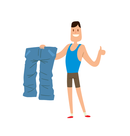 weight loss man: Before and after weight loss man is happy by achievement, weight loss lifestyle people vector. Man shows his weight loss by wearing an old jeans flat vector illustration.