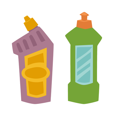 chemical cleaning: Cleanser bottle chemical housework product and cleanser plastic bottle care wash equipment. Two plastic spray cleanser bottle with cleaning liquid flat vector illustration.