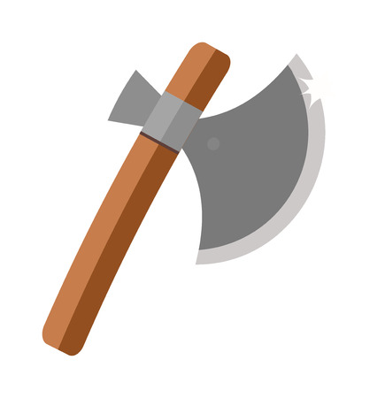 fire wood: Axe steel isolated and sharp axe cartoon weapon icon isolated on white and wooden axe cartoon flat icon of handle wood work equipment vector illustration.