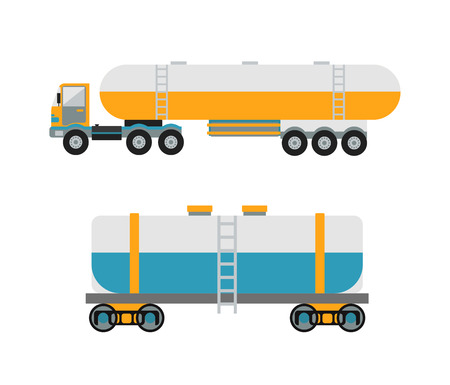 cistern: Oil logistic transportation business and oil logistic industrial transportation tank container. Oil logistic petroleum transportation, tank car, tanker metal barrel flat vector illustration.