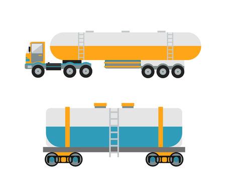 tank car: Oil logistic transportation business and oil logistic industrial transportation tank container. Oil logistic petroleum transportation, tank car, tanker metal barrel flat vector illustration.
