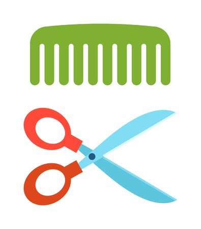 comb hair: Steel scissors and comb hair scissors hairdresser accessory symbol vector. Scissors and comb flat vector symbol isolated on white background, Illustration
