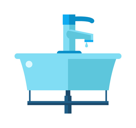 domestic bathroom: Washbasin domestic ceramic object and wash basin for washing hands vector. Washbasin bathroom cartoon flat vector illustration. Illustration