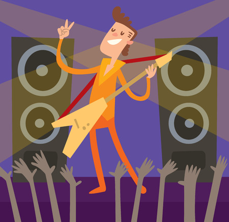 stage lights: Concert young artist, music stage and night concert music stage vector. Young Artist of concert crowd in front of bright music stage lights vector illustration.