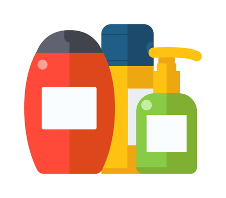 shower gel: Bottle shower gel and shower care gel container symbols vector. Cosmetic packaging plastic shampoo or shower gel bottle flat vector illustration.