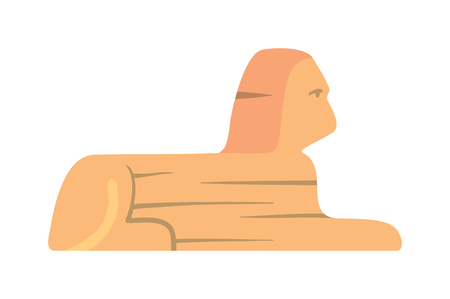 khafre: Sphinx monument vector traditional symbols of Egypt - Sphinx flat icon. Icons of Sphinx monument. Sphinx head isolated on white background. Pyramid of Sphinx monument.