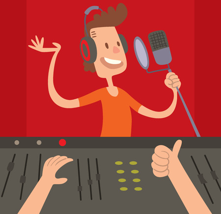 producer: Record Studio mixing control and Record Studio panel concept vector. Sound Record Studio producer working together at mixing panel in the boutique vector illustration. Illustration
