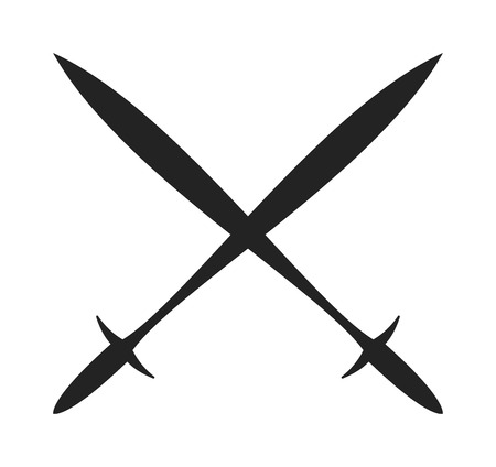 spears: Weapon spear cartoon lance tool battle and war lance tool. History lance tool flat two crossed ancient spears flat vector illustration.