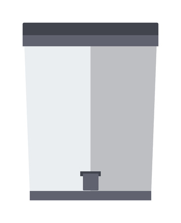 trash container: Trash bin garbage container and trash bin recycle symbol vector. Garbage trash bin flat vector isolated on white background.