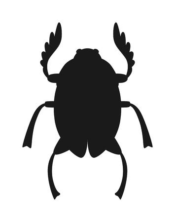 scarab: Egypt scarab beetle black silhouette vector illustration. Egypt scarab beetle isolated on white background. Egypt scarab beetle vector icon illustration. Egypt scarab beetle isolated vector Illustration