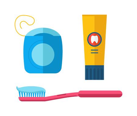 floss: Dental care symbols toothpaste, toothbrush, dental floss. Dental floss, teeth, mouth, tooth paste on blue background Illustration
