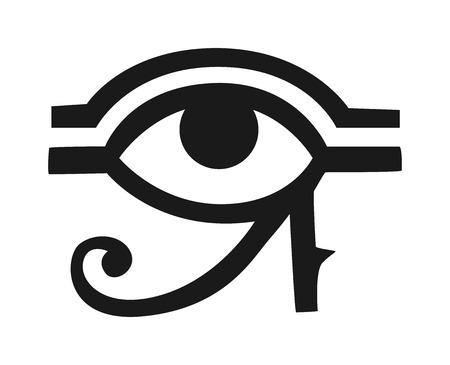 Egypt God Ra vector symbol. Sun EYE OF Egypt God Ra - reverse moon eye of Thoth. Egypt God Ra vector hand drawn set. Egypt God Ra isolated on white background. Egyptian symbol God Ra vector.  イラスト・ベクター素材