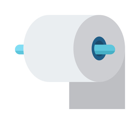 bath house: Toilet paper roll in bathroom and cartoon white toilet roll icon, soft white paper vector. Blue toilet roll and soft white paper cartoon flat vector illustration. Illustration
