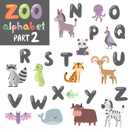 cartoon raccoon: Animals alphabet symbols and wildlife animals font alphabet design vector. Cute vector zoo english alphabet with cartoon animals colorful vector illustration.