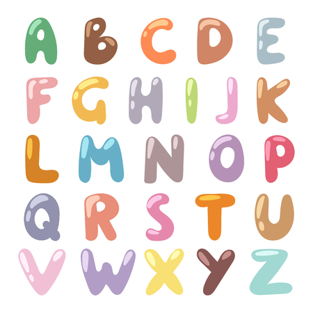 s c u b a: Cartoon Alphabet symbols and cartoon colorful type alphabet vector. English funny cartoon alphabet vector illustration.