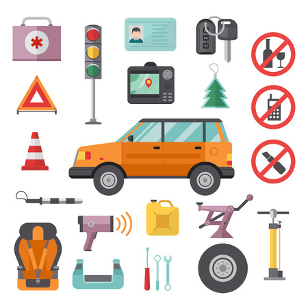 first aid kit key: Auto repair transport symbols and equipment auto transport symbols vector. Auto transport service and car tools icons high detailed vector set.