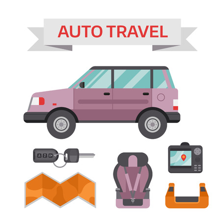 first aid kit key: Various car parts equipment accessories, car equipment auto tools set vector. Car drive service elements concept with flat icons and mechanic car equipment vector. Illustration