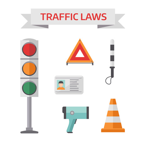 night road: Road police officer symbols and cop road security police symbols. Traffic road police symbols set flat elements isolated vector illustration.