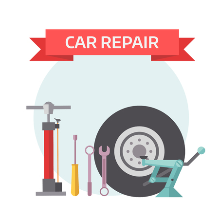 mounting: Tire service design concept with swappable drives mounting service work flat icons and tire service industry isolated vector illustration. Tire service mechanic elements design concept flat vector. Illustration
