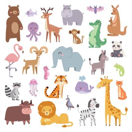 만화 동물 캐릭터와 야생 만화 귀여운 동물 컬렉션 벡터. 만화 동물원 동물 큰 설정 야생 동물, 포유류, 평면 벡터 일러스트 레이 션입니다.