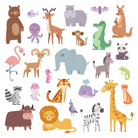 wild: Cartoon animals character and wild cartoon cute animals collections vector. Cartoon zoo animals big set wildlife mammal flat vector illustration.