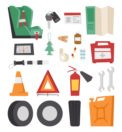 first aid kit key: Various car parts sign equipment accessories, car equipment auto tools icons set vector. Car drive service elements concept with flat icons and mechanic car equipment vector. Illustration