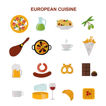 european food: European tasty food and cuisine european dinner food vector. Top view showing European food and delicious elements flat vector illustration.