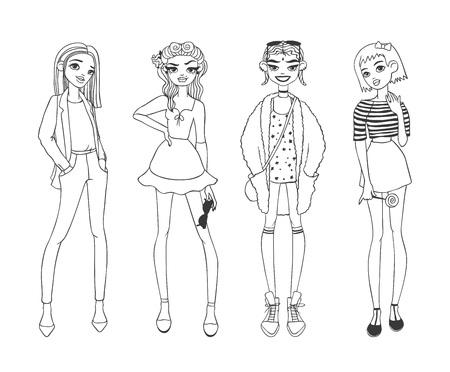 Hermosas chicas de moda joven vestidos casuales glamour boceto ropa con estilo y niñas bosquejo de la manera ropa se ve modelos. niñas casuales de la moda belleza pura de color de dibujos animados ilustración vectorial boceto plana. Ilustración de vector