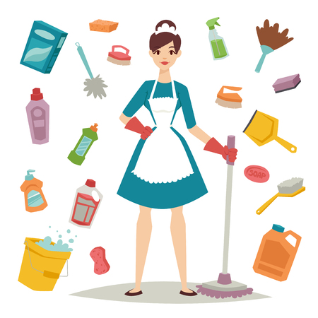 limpieza  del hogar: El ama de casa chica de la limpieza ama de casa y ama de casa lavado de niña bonita. El ama de casa Icono del equipo de niña y limpieza del hogar en la ilustración vectorial de estilo plano.