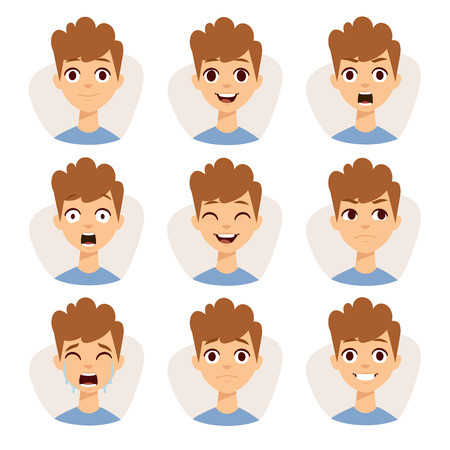 emociones chico divertido y lindo niño retrato emociones avatares. Ilustración que ofrece a los niños niño mostrando diferentes expresiones faciales emociones vector de la historieta. Ilustración de vector